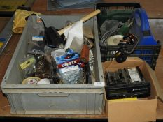 *Three Boxes Containing First Aid Kits, Electronic Tachograph, Electrical Components, Hammers, etc.