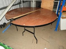 *Pair of Half Round Banqueting Tables with Folding Legs