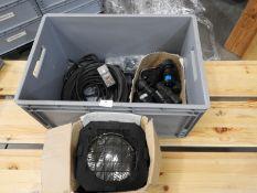 *Box Containing RCD Power Supplies, 16A Plugs, Par-64 Flood Lamp, etc.
