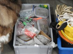*Box Containing Assorted Coloured Tie Wraps, Nuts, Bolts, Ironmongery, Fixings, etc.