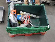 *Box Containing Assorted Hand Tools, Sanding Papers, Kneepads, etc.