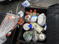 *Mixed Box of Assorted Detergents, Wood Fillers, Stains, Mastic Guns, Clamps, etc.