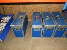 *Blue Flight Case Containing Three Antique Style Coach Lamps