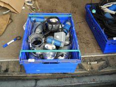 *Box Containing Polished Aluminium Small PAR Lamps, RCD Supplies, Dimmer Unit, etc.