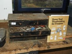 *Set of Wood and Metal Storage Drawers Containing Rotor Brooch Bits, Drill Bits, etc.