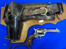 Wall Mounted Replica .45 Army Revolver with Leather Holster & Belt