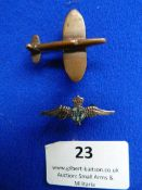 Silver RAF Lapel Badge and Brass Wartime Era Fighter Lapel Badge