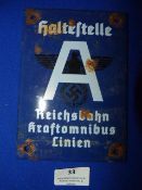 Third Reich Railway Sign 17x12cm