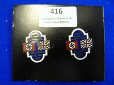 Two Enamel Anglo-German Youth Movement Badges 1936