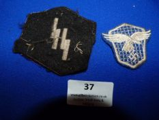 Variation of Luftwaffe Driver's Cloth Badge and SS Collar Patch Runes