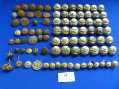 Quantity of Assorted Buttons Including Military, Railway, Merchant Navy, etc.