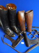 Pair of Brass Spurs, Plated Leather Whip, Leather Equipment...
