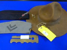 Military Hat, Two Military Caps and a Brass Button Polisher dated 1958