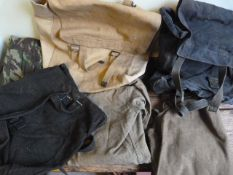 Three British Webbing Packs, Two Wool Shirts, and a Pair of Repro Portuguese Camouflage Trousers