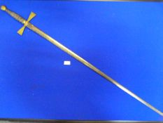 "Masonic Sword with Engraved Blade and Chagrin Grip Marked ""Fidelity Preceptory 114"" at Top of Blade"