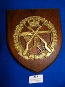Brass Small Arms School Plaque on Wood 18x15.5cm