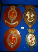 Four Naval Service Plaques up to 30cm high