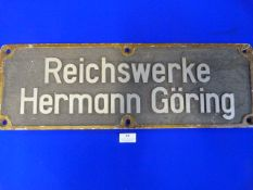 "Original WWII Aluminium Factory Sign ""Hermann Goering"" 60.5x20cm"