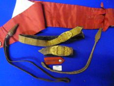 Red Cummerbund and a Quantity of Gilt Lanyards, Belts, etc.