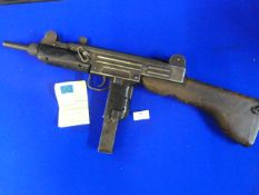 Deactivated MP Uzi Sub Machine Gun with Wooden Stock