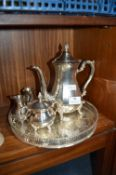 Silver Plated Coffee Pot and Tray