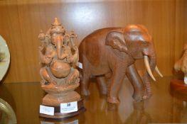 Carved Wooden Elephant and Elephant God Ganesh