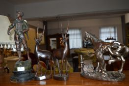 Spelter Figure of a Boy, Ethnic Wooden Antelopes,