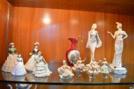 Decorative Pottery Items Including Coalport Figuri