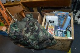 Two Boxes of Household Goods Including Camo Body W