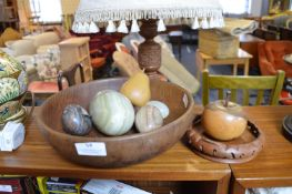 Alabaster Eggs, Turned Wooden Fruit and Bowl