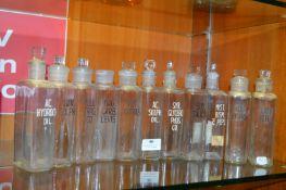 Eleven Vintage Chemist's Apothecary Bottles