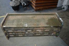 Vintage Metal Tool Storage Cabinet with 12 Drawers