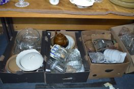 Three Boxes of Kitchenware; Pottery, Glass Bowls,