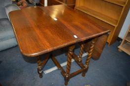 Edwardian Oak Barley Twist Drop Leaf Table
