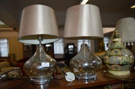 Pair of Glass Table Lamps with Gold Shades