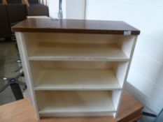 * Small wooden bookcase 3 shelf, cream bookcase with unpainted top - shabby chic. 700w x 280d x 750h