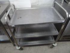 * Hostess trolley 3 tier hostess trolley on castors. 830w x 510d x 940h