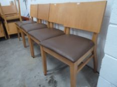 * 6 x chairs beech frame with mushroom upholstery