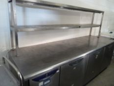 * Williams 3 door bench chiller with heated gantry and overshelf, complete with tab grab and on cast