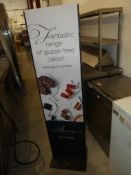 * Freestanding black metal advertising frame both sides with removable hard board advertising. 420w