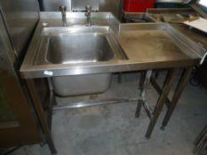 * S/S sink with taps with rear cut out. 1010w x 770d x 900h
