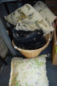 Basket of Handbags and Cushions