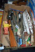 Vintage Toys, Railway Track, Sailing Boat, Pop Gun