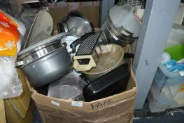 Large Box of Pans, Kitchenware, Ice Buckets, etc.
