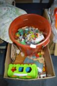 Box and Bucket of Children's Toys and Animals etc.