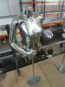 * chrome upper body mannequin with stand