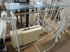 * white freestanding hanging rail chrome bar and glass overshelf