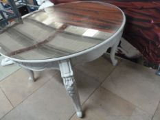 * Large cream table with ornate legs, removable gold mirrored perspex top 1200d x 780h