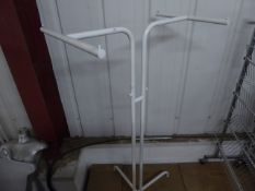 * white freestanding hanging rail with 2 arms