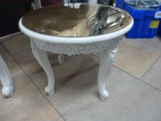 * Small cream table with ornate legs, removable gold mirrored perspex top 600d x 500h